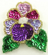 "Flower with Multi Colored Sequins and Beads 2.5"" x 2.25"""