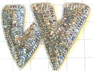 Letter W with Silver Sequins and Beads 4""