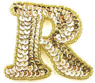 "Letter R with Gold Sequins and Beads 2.25"" x 2.25"""