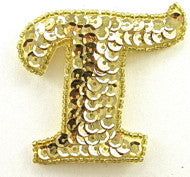 Letter T with Gold Sequins and Beads 2.5""