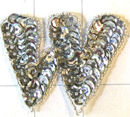 Letter W with Silver Sequins and Beads 2""