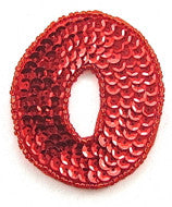 Letter O with Red Sequins and Beads 2.25""