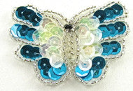 "Butterfly Turquoise and Iridescent Sequins 2"" x 2"""