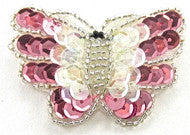 "Butterfly Pink and Iridescent Sequins 2"" x 2"""