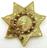 Star Badge Gold Sequins and Beads 3.5""