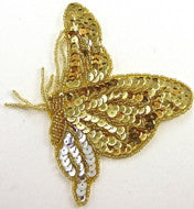 "Butterfly with Gold and Silver Sequins and Beads 7"" x 5"""