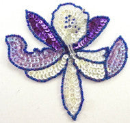 "Flower Orchid Purple and White Sequins 4.5"" x 4.5"""