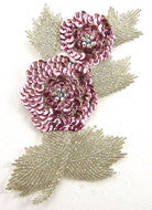 Flower with Pink and Silver Beads/Sequins 7""
