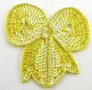 "Bow with Bright Yellow Sequins and Beads 4"" x 3.5"""