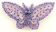 "Butterfly Lavender with Sequins and Beads 1"" x 2"""