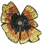 "Flower with Gold, Bronze, Black 5.5"" x 4.25"""