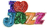"I LOVE JAZZ MultiColored Sequins and Beads 2.25"" x 2.25"""