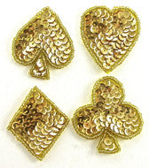 "Club,Heart,Diamond,Spade Gold Sequins and Beads 1.75"" x 1.5"""