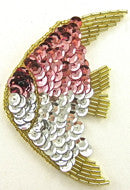"Fish with Pink and Silver Sequins Gold Beads 4"" x 2.5"""