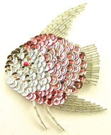 "Fish with Silver and Pink Sequins 3.5"" x 4"""
