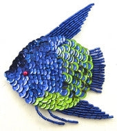 "Fish with Royal Blue/Green Sequins 4"" x 3.5"""