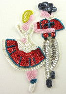 "Cowboy and Cowgirl Line Dancing Couple  6"" x 4.5"""