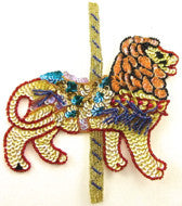 "Carousel Lion with Multi-Color Sequins and Beads 7"" x 6"""