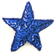 Star Royal Blue  Sequins and Beads 2""
