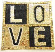 "LOVE Applique with Gold/Black Sequins and Beads 10"" x 10"""