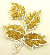 "Leaf with Wood Tan Sequins and Large White Beads 4"" x 5"""
