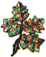 "Leaf with MultiColored Sequins Black Beads 4"" x 5"""