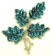"Leaf with Teal Sequins/Silver Beads 5"" x 4"""