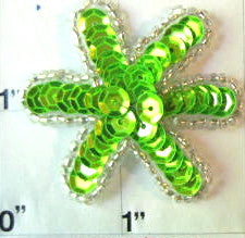 FLower Lime Green with Silver Beading