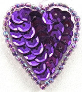 Heart Purple Sequins and beads 1.25""