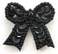 Bow with Black Sequins/Beads 1.5""