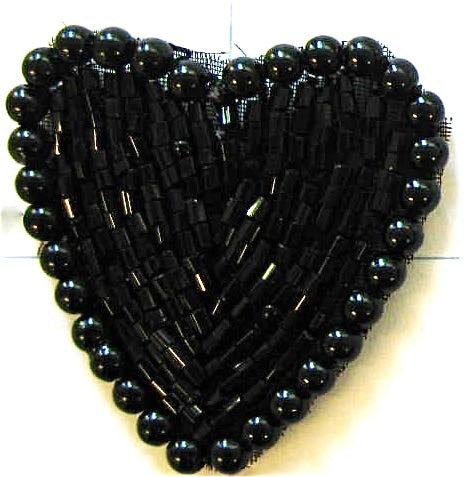 Heart Black Beads and Pearls 1.5""