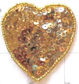 "Heart with Gold Sequins and Beads 3"" x 3.25"""