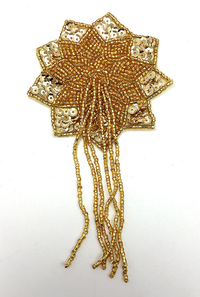 "Epaulet Flower with Gold Sequins and Beads  5.5"" x 3"""