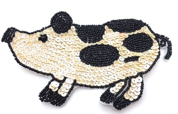 "Pig with Beige and Black  Sequins 3"" x 6"""