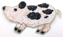 "Load image into Gallery viewer, Pig w/ Pink and Black Sequins, in 2 variants, 6""x 3.5"", 4.5"" x 3"""