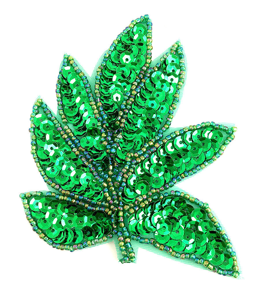 Leaf Green Sequins and Moonlite Beads  3.5