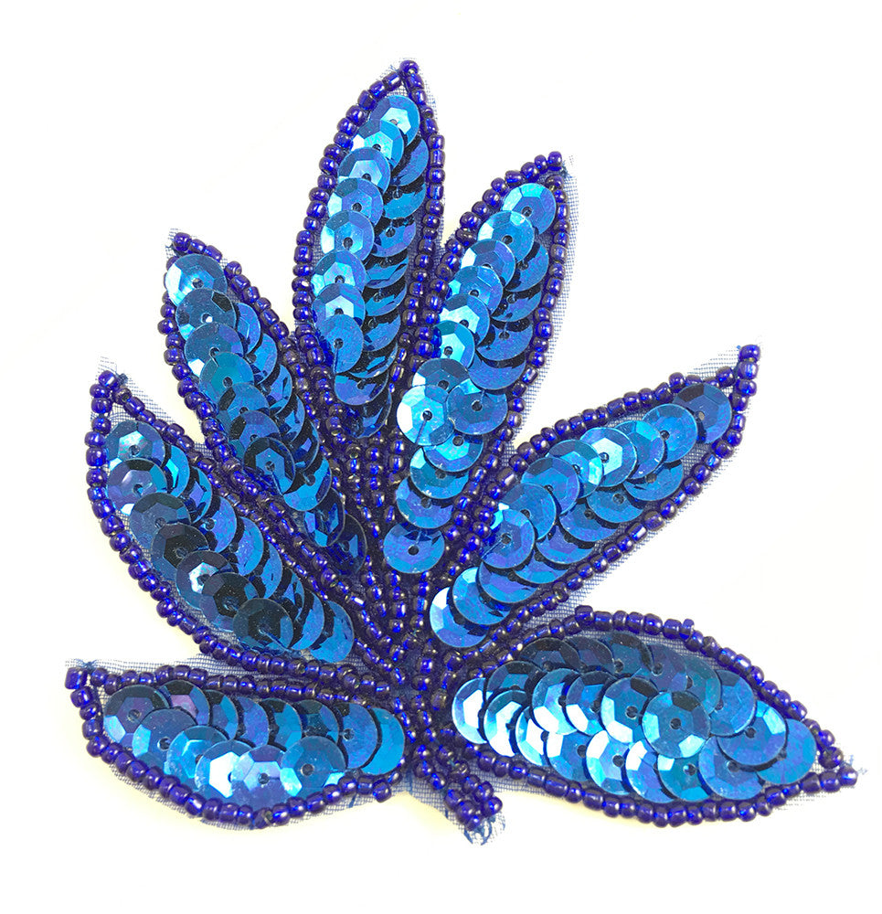 "Leaf Royal Blue Single 3.75"" x 3.25"""