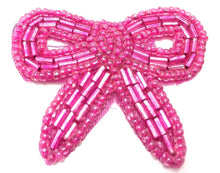 Load image into Gallery viewer, Bow Fuchsia Beaded 1.75""