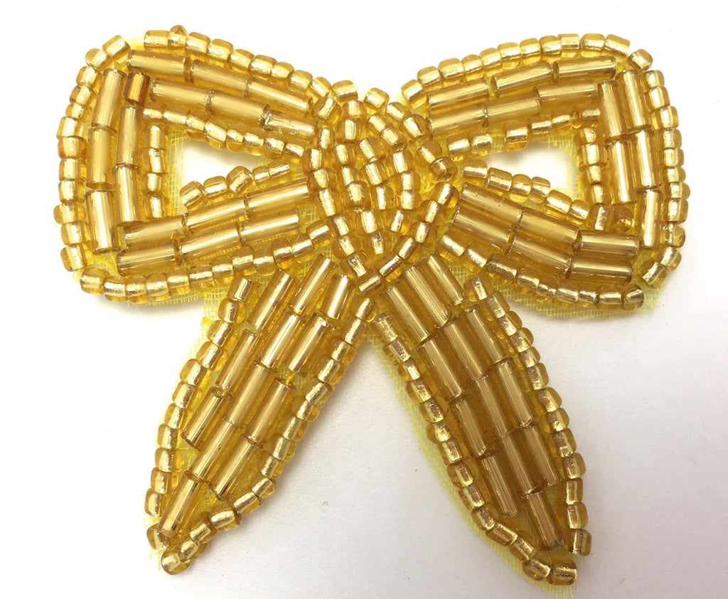 Bow with Gold Beads 1.75""