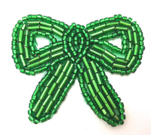 "Bow Green Beaded 1.5"" x 2"""