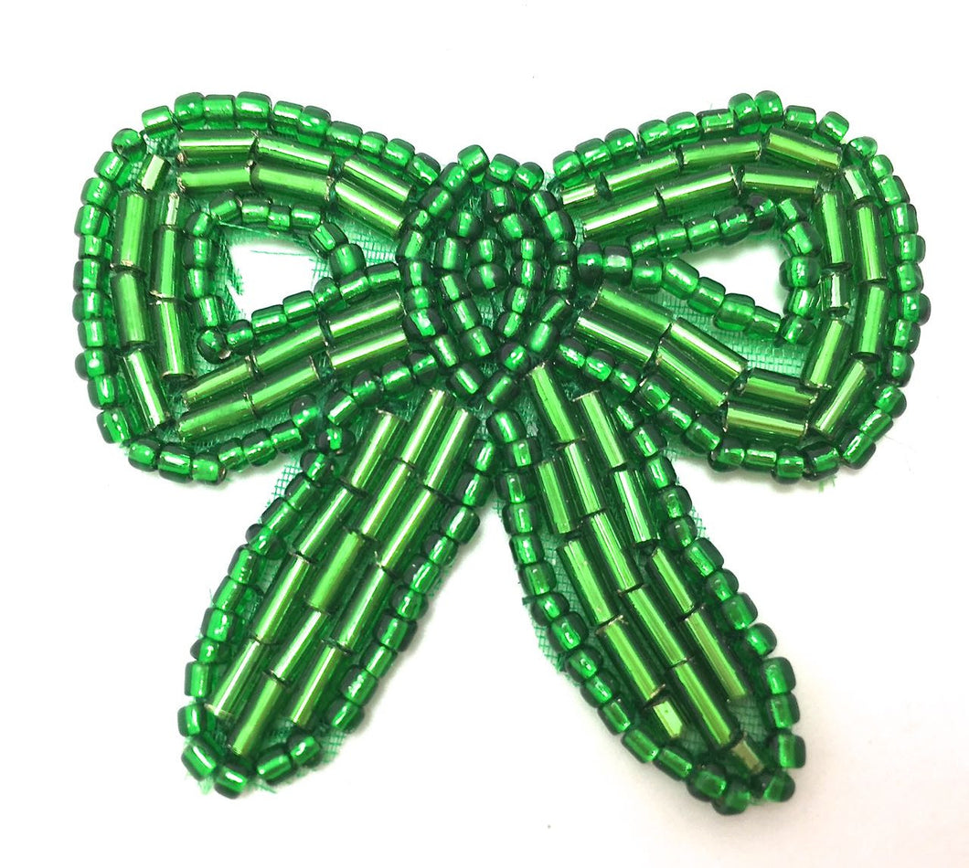 Bow Green Beaded 1.5