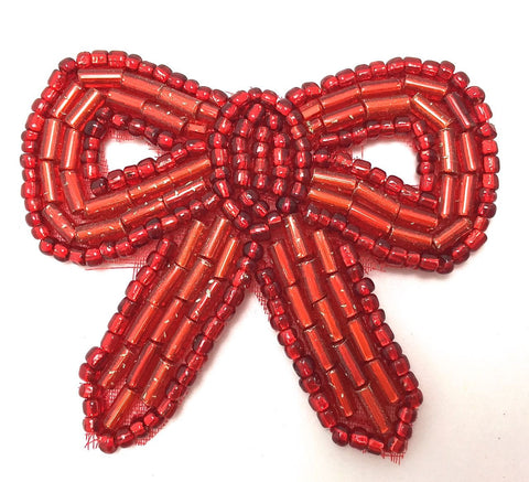 Bow with Red Beads 1.75""