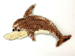 "Dolphin Bronze and Beige Sequins and Beads 6"" x 4"""
