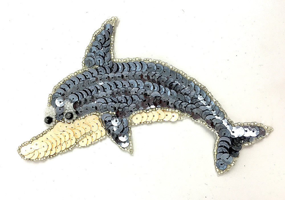 "Dolphin with Charcoal and Beige Sequins and Beads 6"" x 4"""