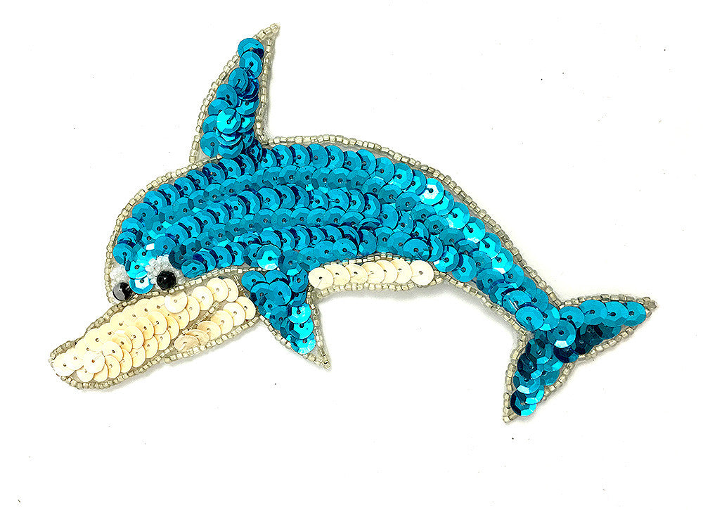 "Dolphin with Turquoise and Cream Sequins and Beads 6"" x 4"""