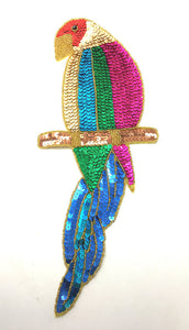 "Parrot with Multi-Colored Sequins and Beads 15"" x 5.5"""