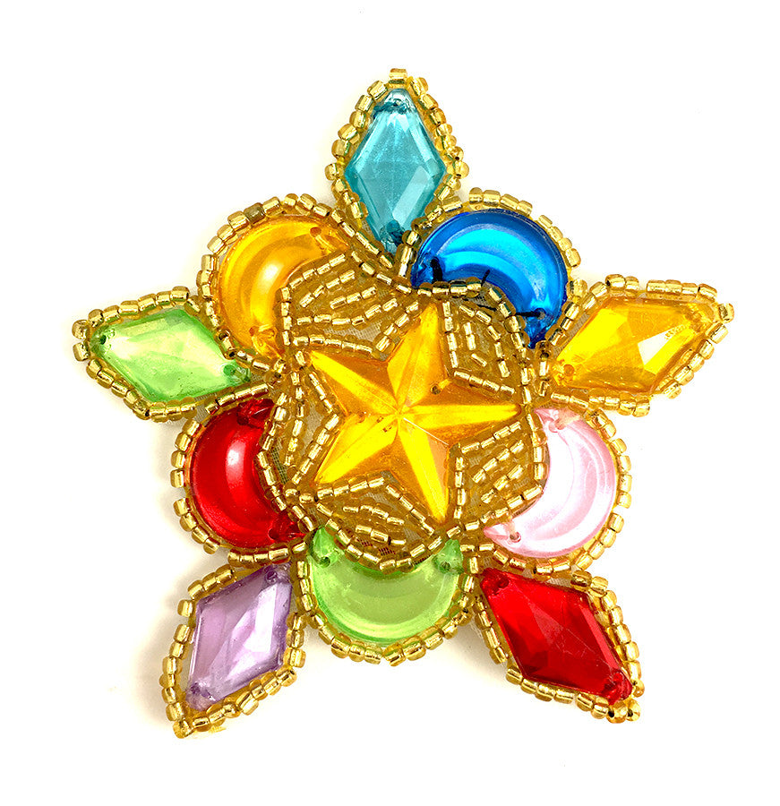 "Designer Motif Star-Shape with Gold Beads and Multi-Color Acrylic Stones 3"" x 3"""