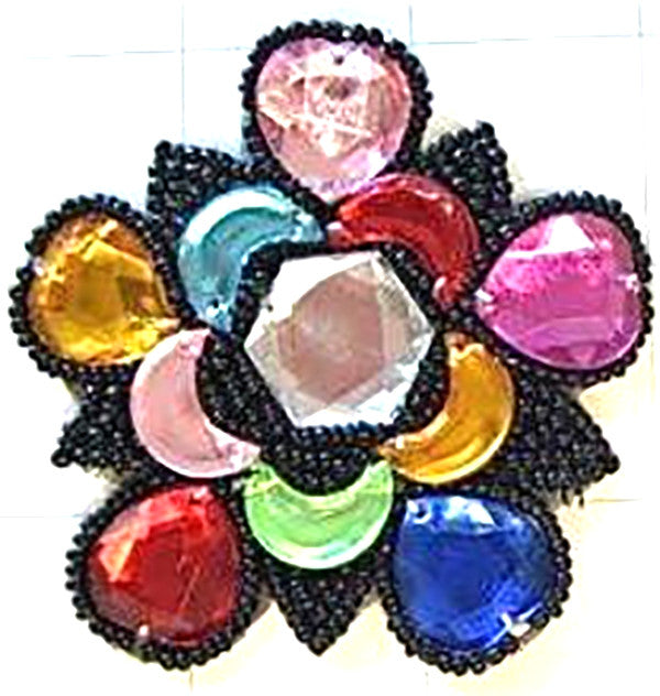 Designer Motif Jewel with Multi-Colored Stones Clear Center 3""