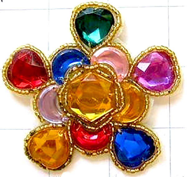 "5 PACK - Designer Motif Jewel with Gold Center Multi-Colored Stones 3"" - Sequinappliques.com"