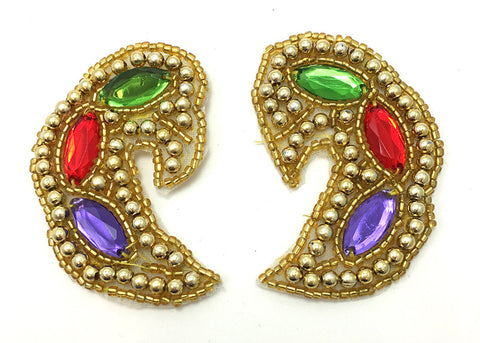 3 PACK Designer Motif Jewel Pair Paisley Shape with Gold and Colored Stones,  x 1.5""